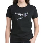 Two White Sharks ambush Tuna Women's Dark T-Shirt