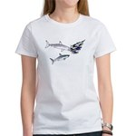 Two White Sharks ambush Tuna Women's T-Shirt