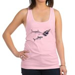 Two White Sharks ambush Tuna Racerback Tank Top