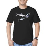 Two White Sharks ambush Tuna Men's Fitted T-Shirt