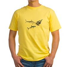 Two White Sharks ambush Tuna Yellow T-Shirt