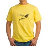 Two White Sharks ambush Tuna Yellow T-Shirt