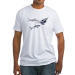 Two White Sharks ambush Tuna Fitted T-Shirt