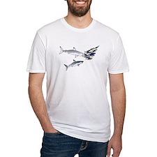 Two White Sharks ambush Tuna Fitted T-Shirt