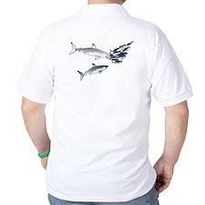 Two White Sharks ambush Tuna Golf Shirt