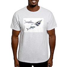 Two White Sharks ambush Tuna Light T-Shirt
