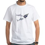Two White Sharks ambush Tuna White T-Shirt