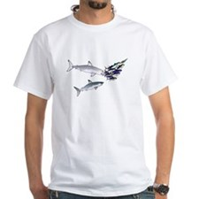 Two White Sharks ambush Tuna White T-Shirt