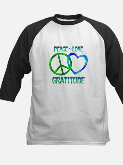 Peace Love Gratitude Kids Baseball Jersey
