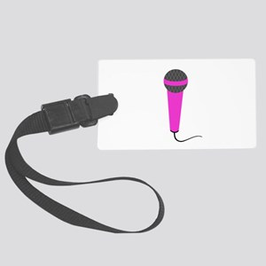 Hot Pink Microphone Large Luggage Tag