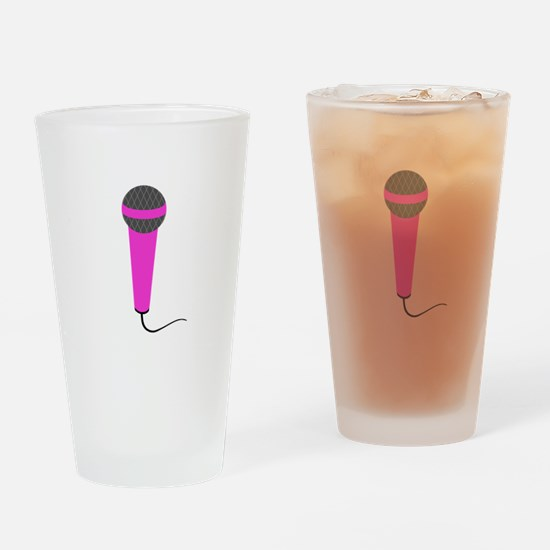 Hot Pink Microphone Drinking Glass