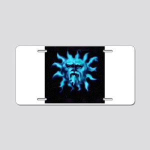 Blue Bearded Sun Face Aluminum License Plate