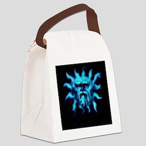 Blue Bearded Sun Face Canvas Lunch Bag