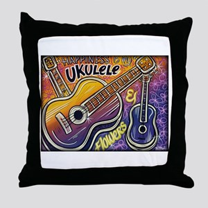 Happiness is My Ukulele Throw Pillow
