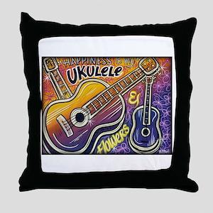 Happiness is My Ukulele Throw Pillow