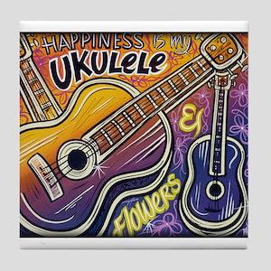 Happiness is My Ukulele Tile Coaster