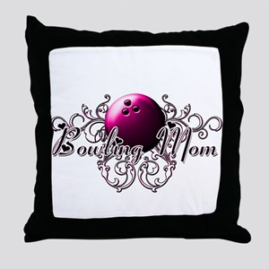 Bowling Mom (pink ball) Throw Pillow