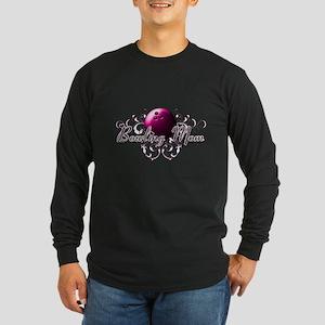 Bowling Mom (pink ball) Long Sleeve Dark T-Shi