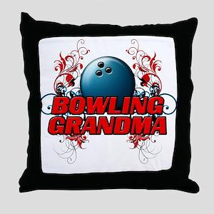 Bowling Grandma (cross) Throw Pillow