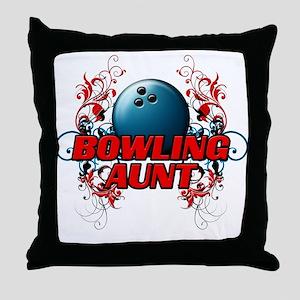 Bowling Aunt (cross) Throw Pillow
