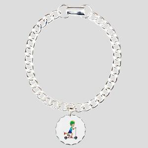 Scooter Boy Charm Bracelet, One Charm