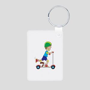 Scooter Boy Aluminum Photo Keychain
