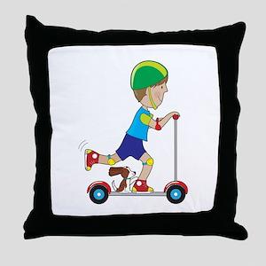 Scooter Boy Throw Pillow