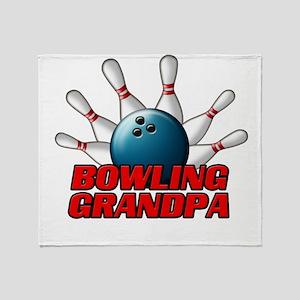 Bowling Grandpa (pins) Throw Blanket