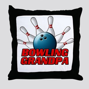 Bowling Grandpa (pins) Throw Pillow