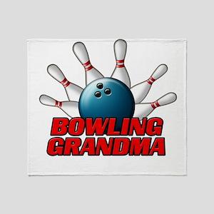 Bowling Grandma (pins) Throw Blanket