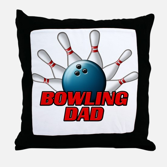 Bowling Dad (pins).png Throw Pillow