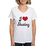 I Love Skating Women's V-Neck T-Shirt