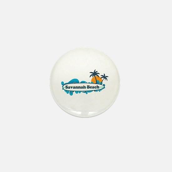 Savannah Beach GA - Surf Design. Mini Button