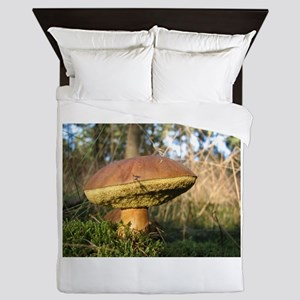 Large brown Mushroom Queen Duvet