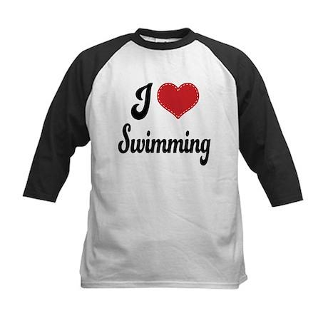 I Love Swimming Kids Baseball Jersey