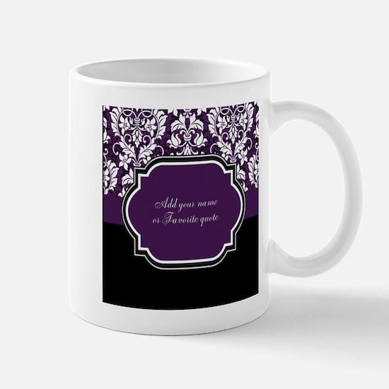 Customizable Purple Damask Mug