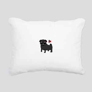 PugBlack Rectangular Canvas Pillow
