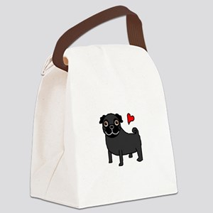 PugBlack Canvas Lunch Bag