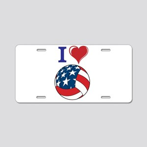 I Love Volley Ball Aluminum License Plate