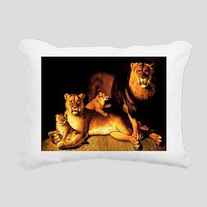 The Lion Family Rectangular Canvas Pillow