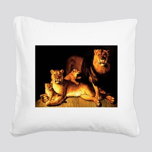 The Lion Family Square Canvas Pillow