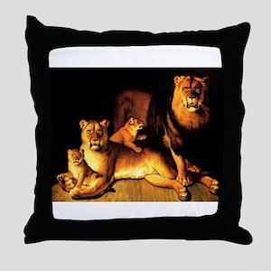The Lion Family Throw Pillow