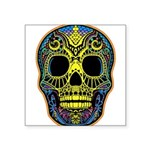 Colorful skull Square Sticker 3