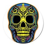 Colorful skull Round Car Magnet