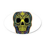 Colorful skull Oval Car Magnet