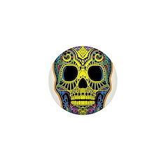 Colorful skull Mini Button