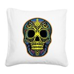 Colorful skull Square Canvas Pillow