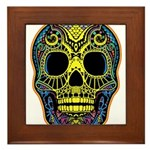 Colorful skull Framed Tile