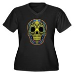 Colorful skull Women's Plus Size V-Neck Dark T-Shi