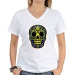 Colorful skull Women's V-Neck T-Shirt